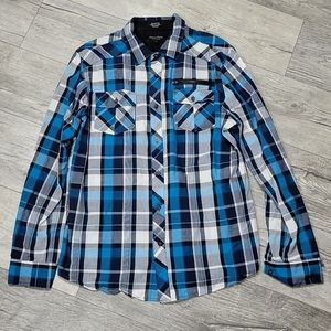 Eighty Eight Size L White and Blue Button Up